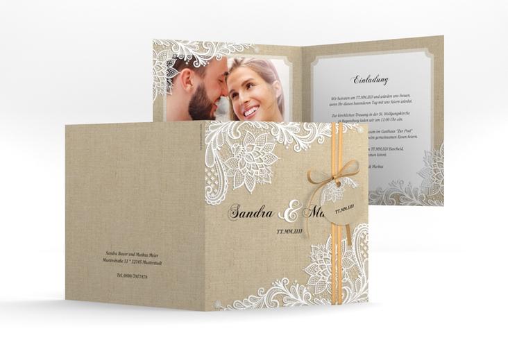 """Hochzeitseinladung """"Lace"""" Quadratische Klappkarte beige"""