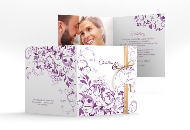 """Hochzeitseinladung """"Lilly"""" Quadratische Klappkarte lila"""