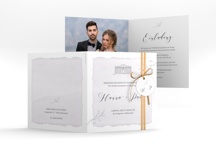 """Hochzeitseinladung """"Villa"""" Quadratische Klappkarte flieder"""