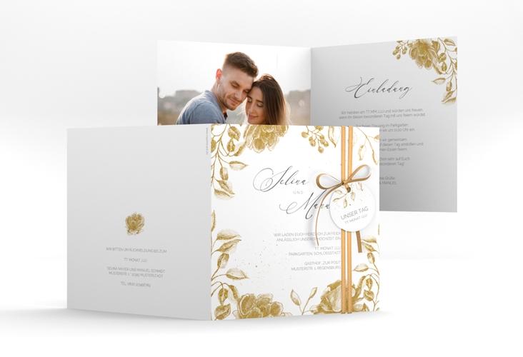 """Hochzeitseinladung """"Blattgold"""" Quadratische Klappkarte"""