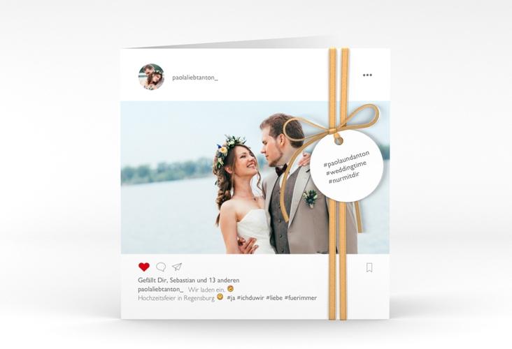 """Hochzeitseinladung """"Posting"""" Quadratische Klappkarte"""