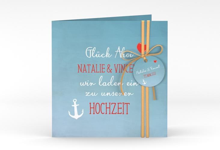 """Hochzeitseinladung """"Ehehafen"""" Quadratische Klappkarte"""