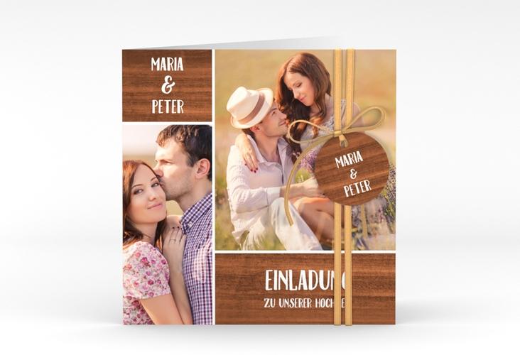 """Hochzeitseinladung """"Landliebe"""" Quadratische Klappkarte braun"""