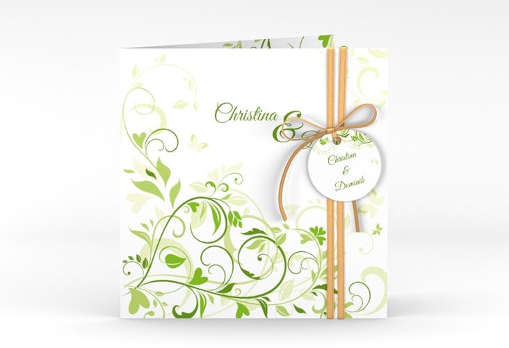 """Hochzeitseinladung """"Lilly"""" Quadratische Klappkarte gruen"""