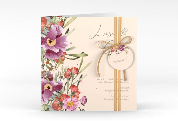 "Hochzeitseinladung ""Rosey"" Quadratische Klappkarte"