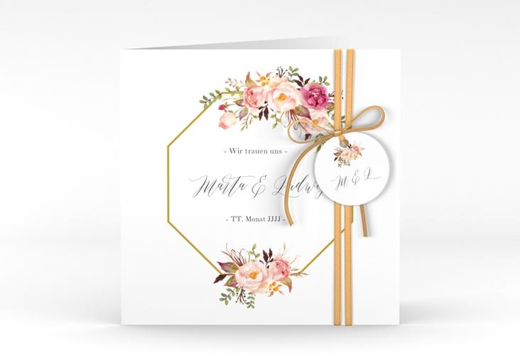 """Hochzeitseinladung """"Prachtvoll"""" Quadratische Klappkarte weiss"""