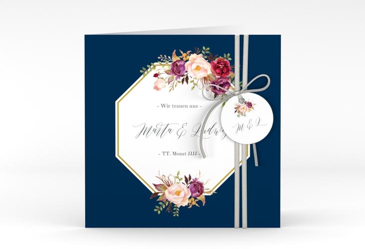 """Hochzeitseinladung """"Prachtvoll"""" Quadratische Klappkarte blau"""