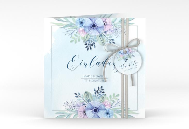 """Hochzeitseinladung """"Surfinia"""" Quadratische Klappkarte blau"""