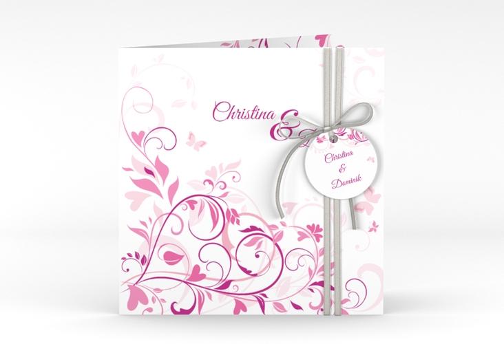 """Hochzeitseinladung """"Lilly"""" Quadratische Klappkarte pink"""