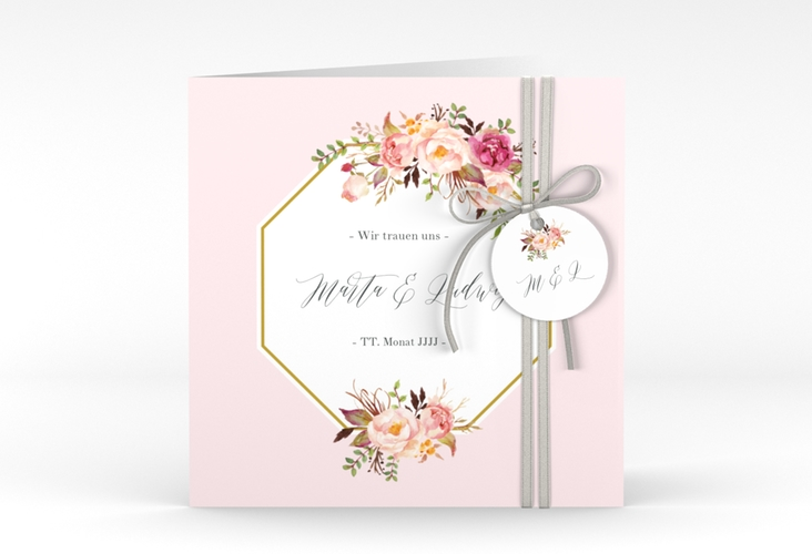 """Hochzeitseinladung """"Prachtvoll"""" Quadratische Klappkarte rosa"""