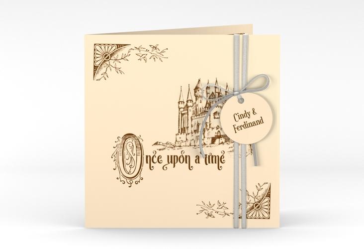 """Hochzeitseinladung """"Storybook"""" Quadratische Klappkarte"""