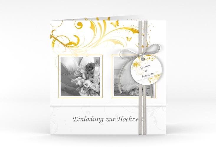 """Hochzeitseinladung """"Palma"""" Quadratische Klappkarte gold"""