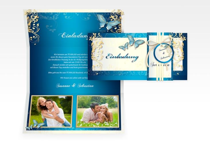 """Hochzeitseinladung """"Toulouse"""" DIN lang Wickelfalz blau"""