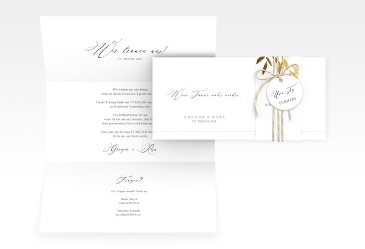 "Hochzeitseinladung ""Demure"" DIN lang Wickelfalz"
