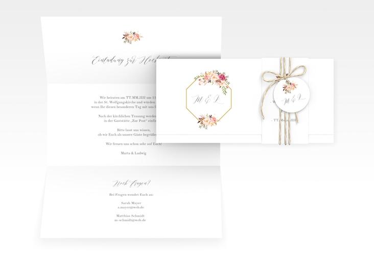 """Hochzeitseinladung """"Prachtvoll"""" DIN lang Wickelfalz"""