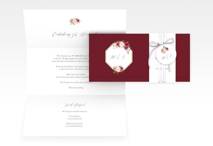 """Hochzeitseinladung """"Prachtvoll"""" DIN lang Wickelfalz rot"""