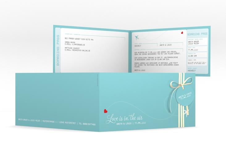 """Hochzeitseinladung """"Weddingpass"""" DIN lang Klappkarte blau"""