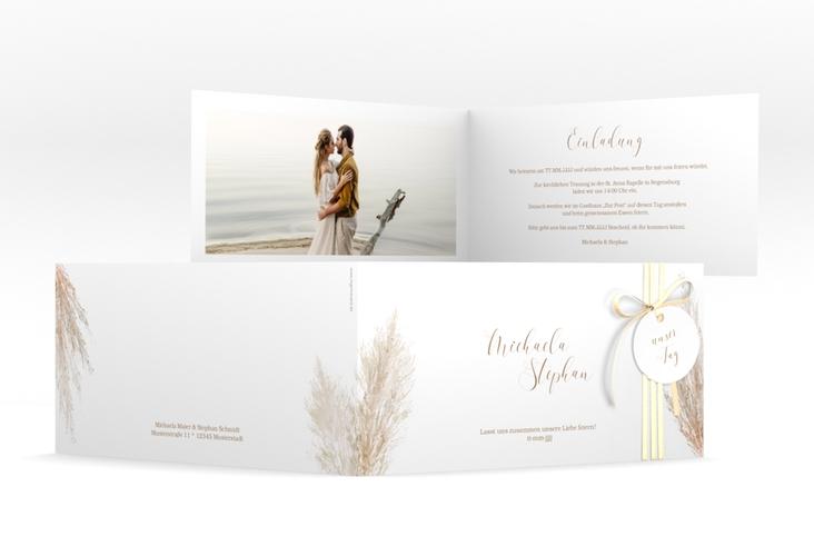 """Hochzeitseinladung """"Pampasgras"""" DIN lang Klappkarte"""