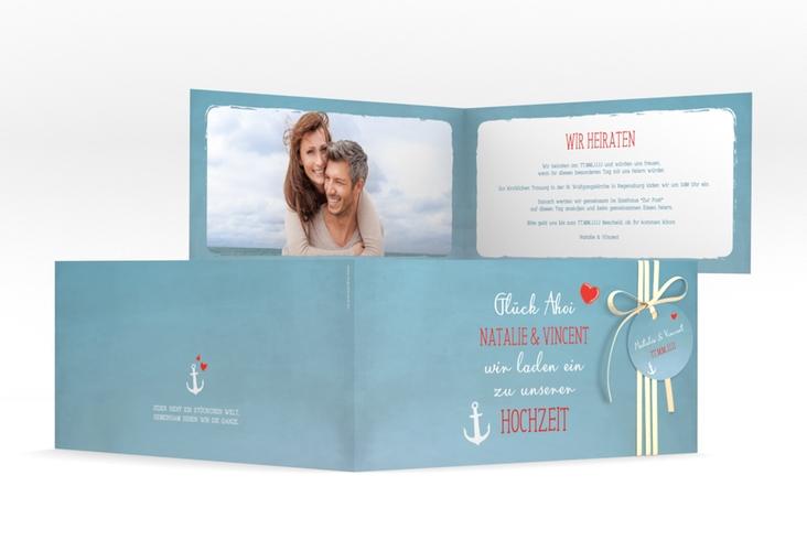 """Hochzeitseinladung """"Ehehafen"""" DIN lang Klappkarte blau"""