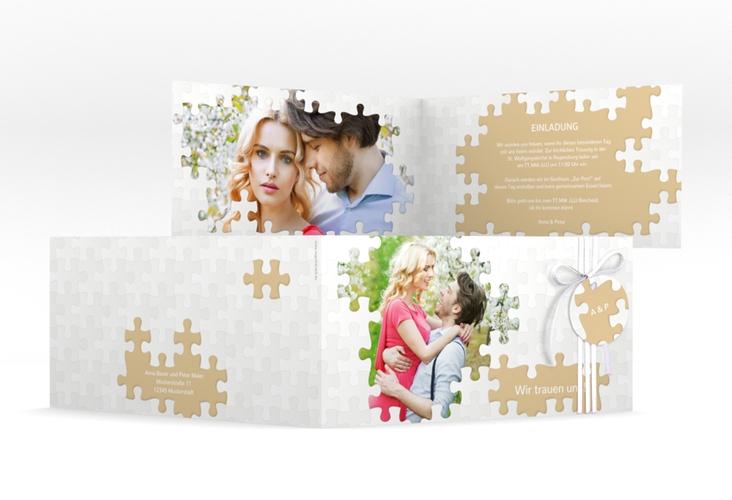 """Hochzeitseinladung """"Puzzle"""" DIN lang Klappkarte beige"""
