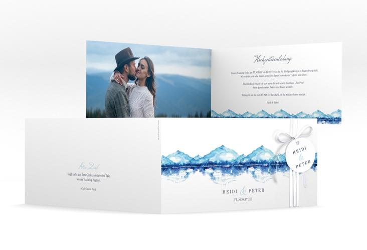 """Hochzeitseinladung """"Bergliebe"""" DIN lang Klappkarte blau"""