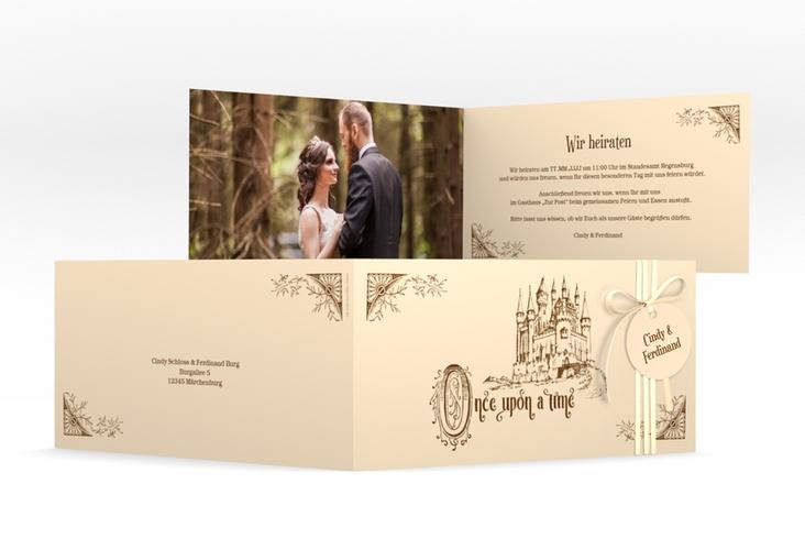 """Hochzeitseinladung """"Storybook"""" DIN lang Klappkarte"""