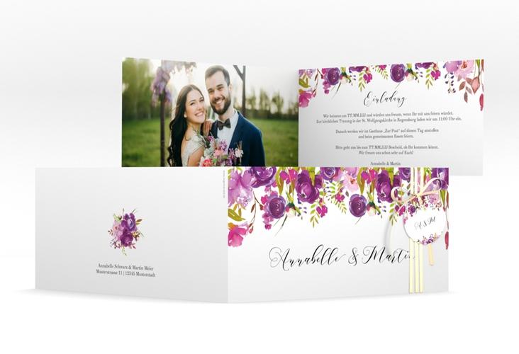 """Hochzeitseinladung """"Violett"""" DIN lang Klappkarte weiss"""