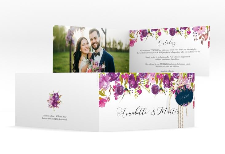 """Hochzeitseinladung """"Violett"""" DIN lang Klappkarte"""