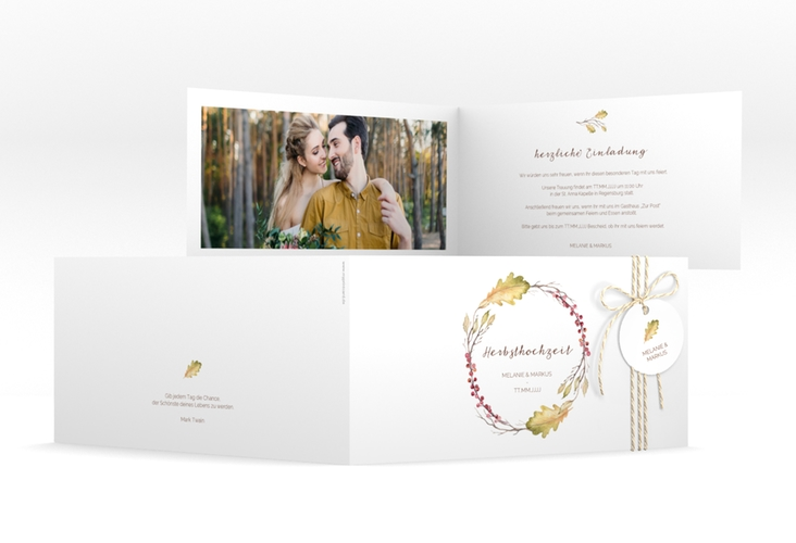 """Hochzeitseinladung """"Herbsthochzeit"""" DIN lang Klappkarte"""