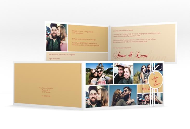 """Hochzeitseinladung """"Collage"""" DIN lang Klappkarte apricot"""