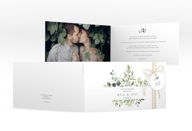 "Hochzeitseinladung ""Enchanting"" DIN lang Klappkarte weiss"