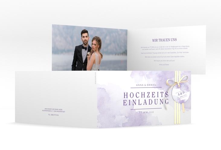 """Hochzeitseinladung """"Blush"""" DIN lang Klappkarte lila"""