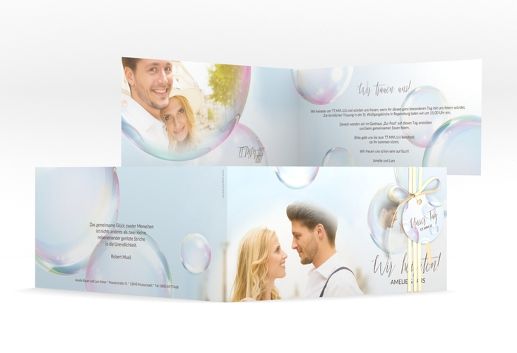 """Hochzeitseinladung """"Dreams"""" DIN lang Klappkarte"""