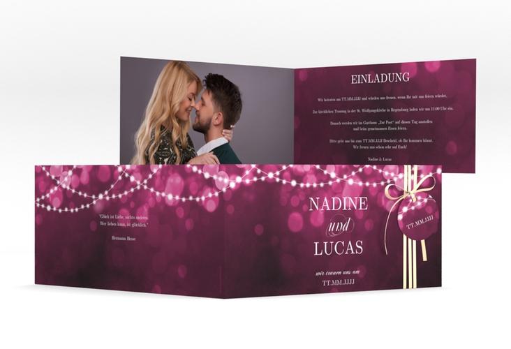 """Hochzeitseinladung """"Lichtspiel"""" DIN lang Klappkarte"""