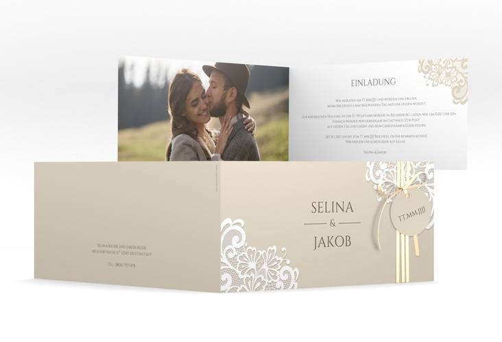 """Hochzeitseinladung """"Vintage"""" DIN lang Klappkarte beige"""
