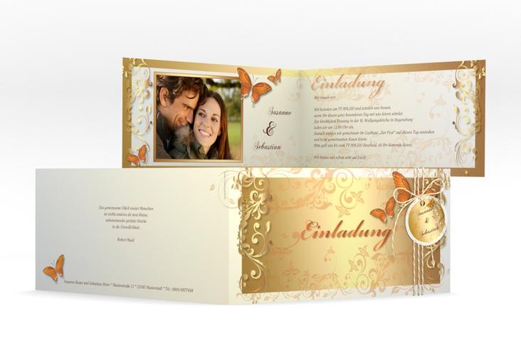 """Hochzeitseinladung """"Toulouse"""" DIN lang Klappkarte orange"""