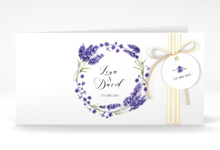 """Hochzeitseinladung """"Lavendel"""" DIN lang Klappkarte"""