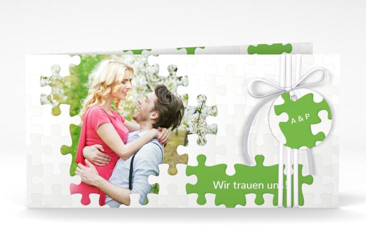 """Hochzeitseinladung """"Puzzle"""" DIN lang Klappkarte"""