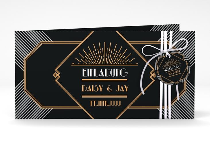 """Hochzeitseinladung """"Gatsby"""" DIN lang Klappkarte"""