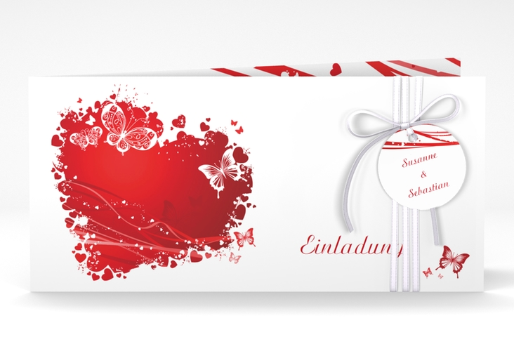 """Hochzeitseinladung """"Mailand"""" DIN lang Klappkarte rot"""