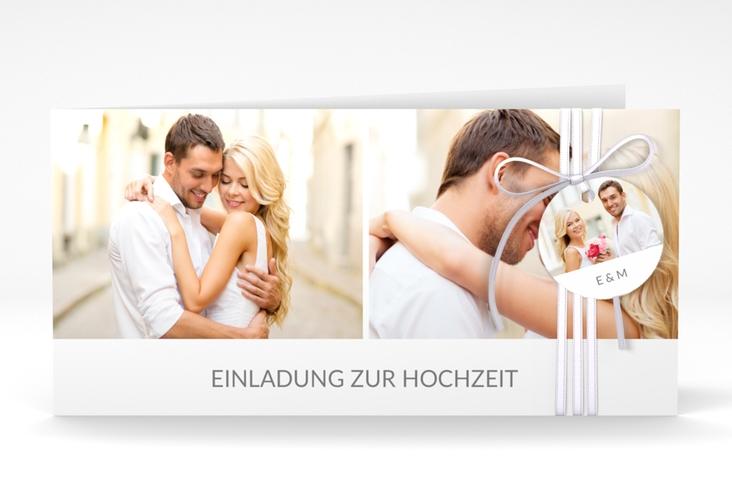 """Hochzeitseinladung """"Vista"""" DIN lang Klappkarte weiss"""