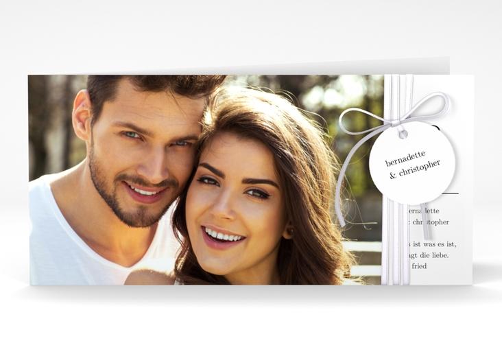 """Hochzeitseinladung """"Minimal"""" DIN lang Klappkarte weiss"""
