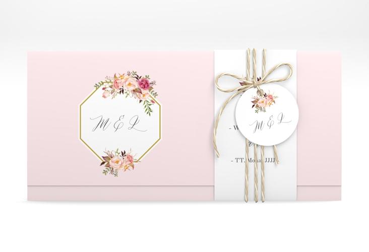 """Hochzeitseinladung """"Prachtvoll"""" DIN lang Wickelfalz rosa"""