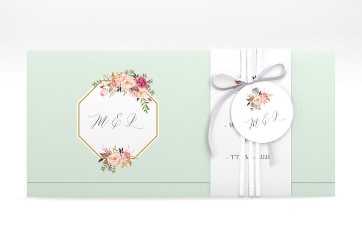 """Hochzeitseinladung """"Prachtvoll"""" DIN lang Wickelfalz mint"""