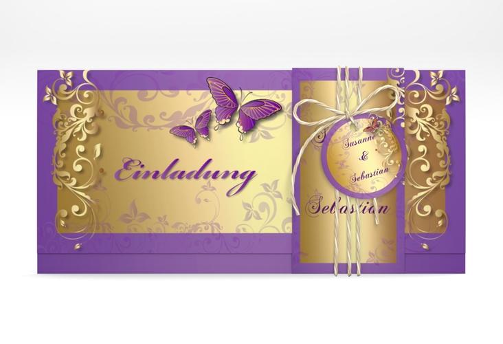 "Hochzeitseinladung ""Toulouse"" DIN lang Wickelfalz lila"