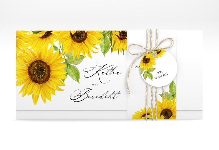 """Hochzeitseinladung """"Sonnenblume"""" DIN lang Wickelfalz"""