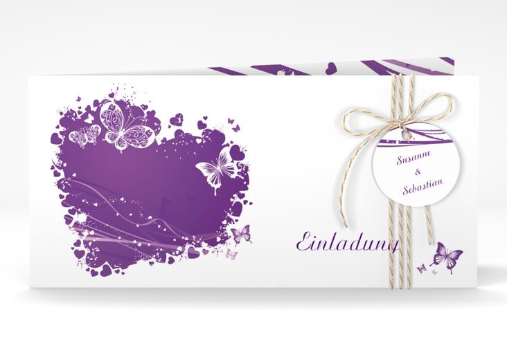 """Hochzeitseinladung """"Mailand"""" DIN lang Klappkarte lila"""