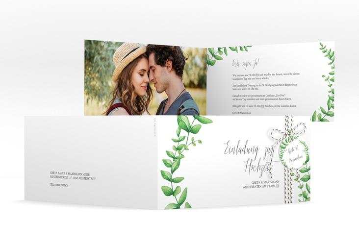 """Hochzeitseinladung """"Botanic"""" DIN lang Klappkarte"""