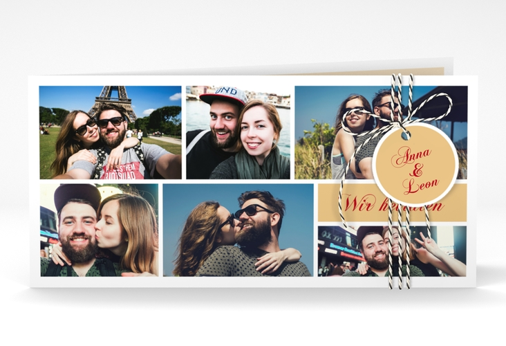 """Hochzeitseinladung """"Collage"""" DIN lang Klappkarte"""