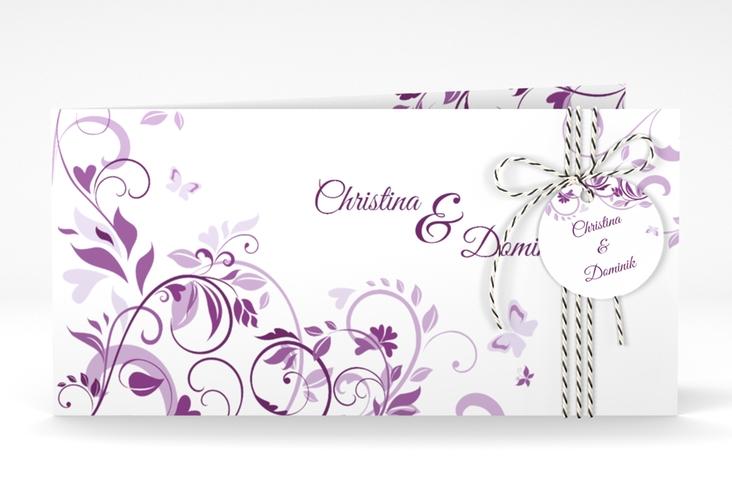 """Hochzeitseinladung """"Lilly"""" DIN lang Klappkarte lila"""